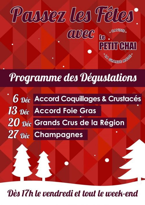 degustation fetes petit chai herault noel jour de l an grande motte huitre foie gras champagne grands crus